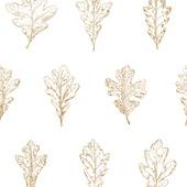 Vliesbehang eikenblad wit-goud (dessin 33-259)