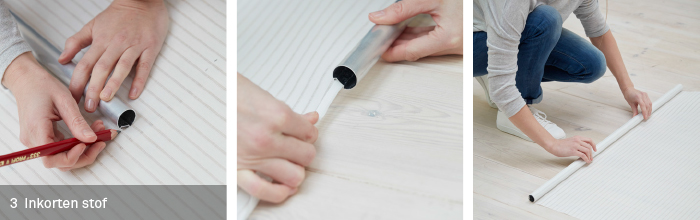stap 3 inkorten stof rol de gordijnstof uit op een schone vlakke ondergrond en zorg dat er geen vouwen in komen zet een streepje om de 10 centimeter en