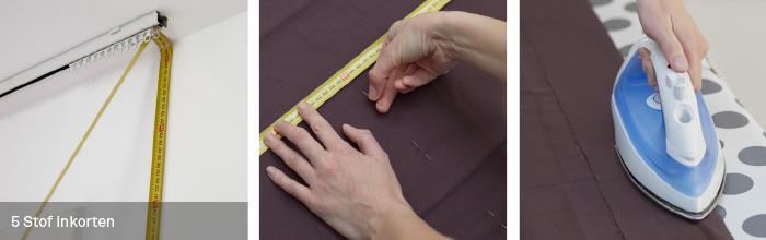 bepaal de lengte van het gordijn meet vanaf de bovenkant van de rail tot aan de vloer of vensterbank en trek daar 1 a 2 centimeter van af